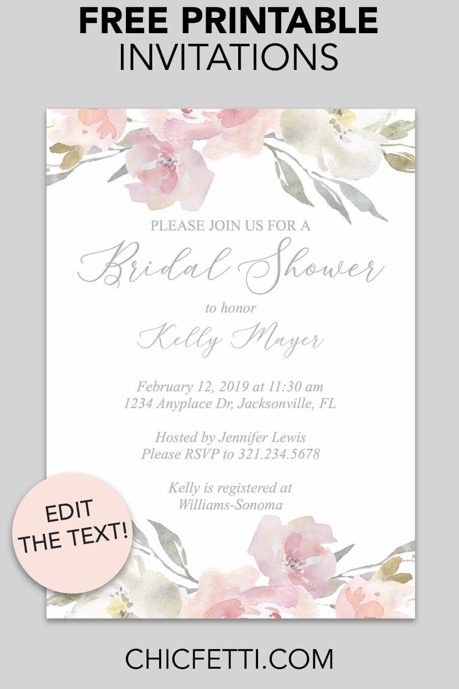 Bridal Shower Printable Invitation (Blush Floral | Invitations - Free Printable Bridal Shower Raffle Tickets