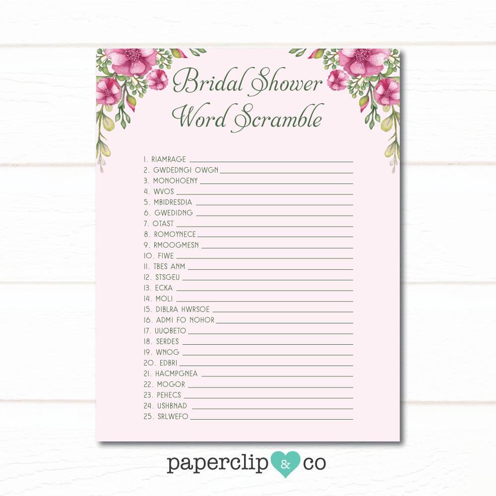 Bridal Shower Word Scramble Game Wedding Shower Games | Etsy - Free Printable Bridal Shower Games Word Scramble