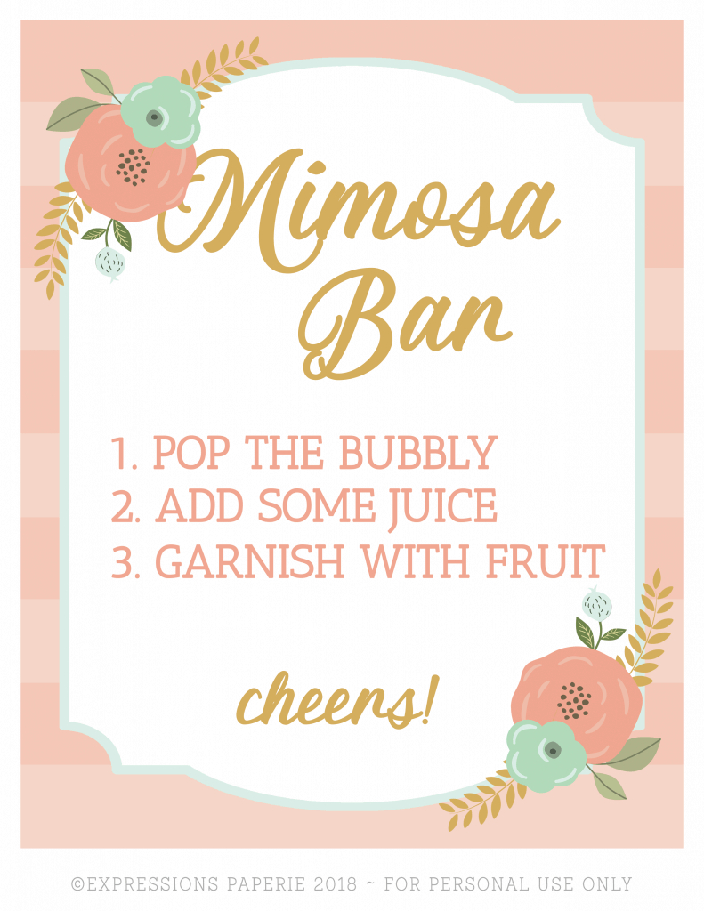 Brunch And Mimosas Party Ideas - Strawberry Blondie Kitchen - Free Printable Mimosa Bar Sign