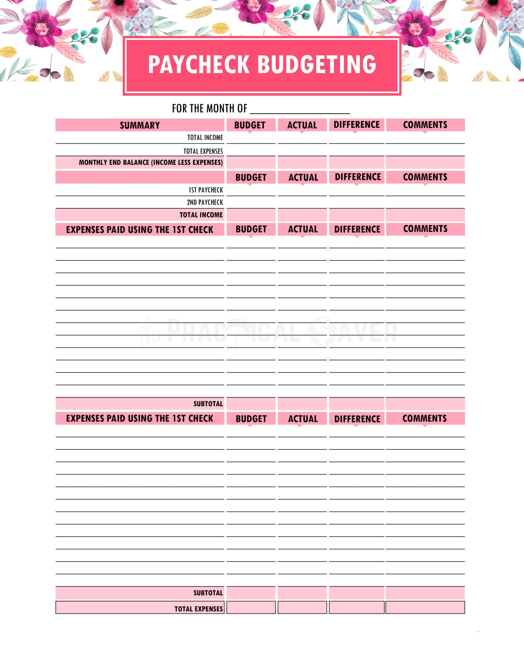 Budget Binder Printables - The Practical Saver - Free Printable Budget Binder Worksheets