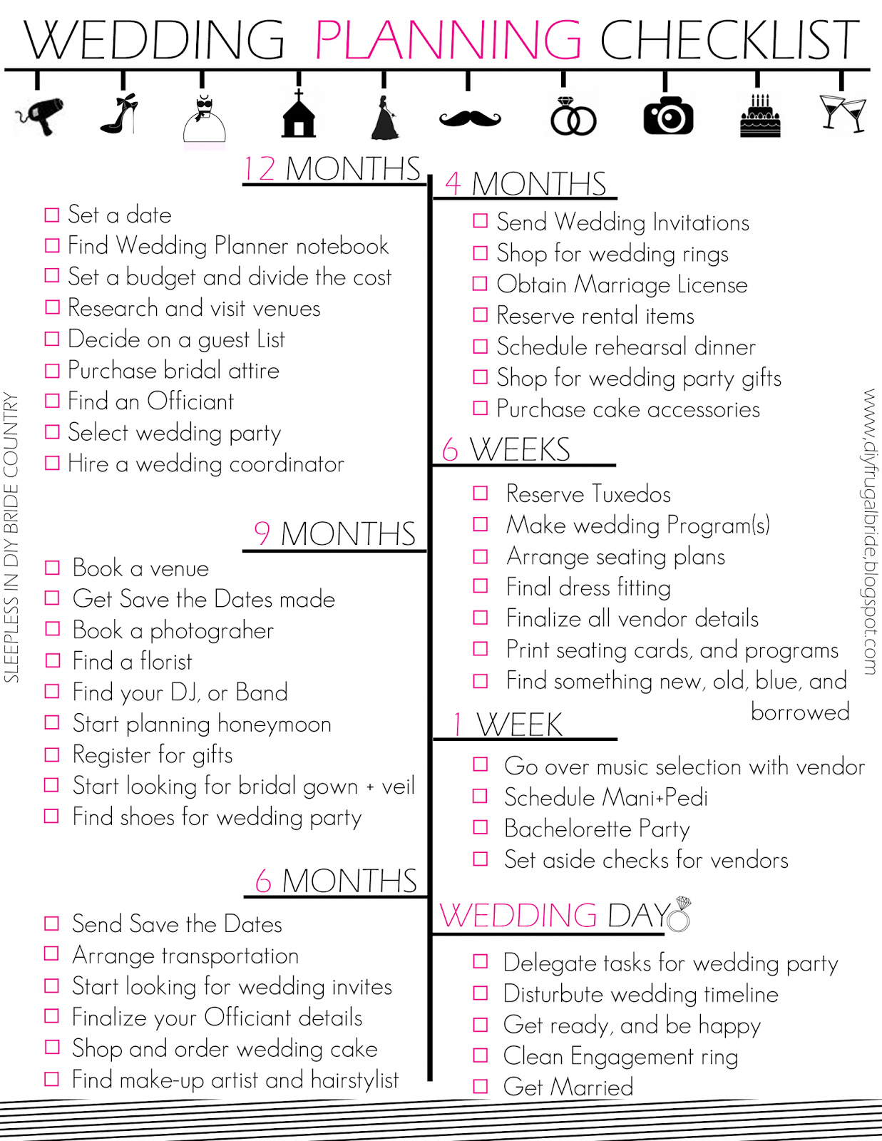 Budget Bride Wedding Checklist And Budget Tips | Wedding In 2019 - Free Printable Wedding Checklist