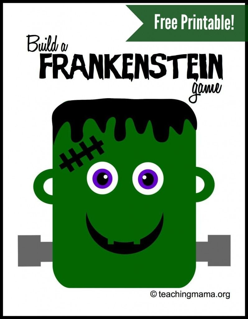 Build A Frankenstein Game | Teaching Mama's Posts | Halloween Games - Roll A Monster Free Printable