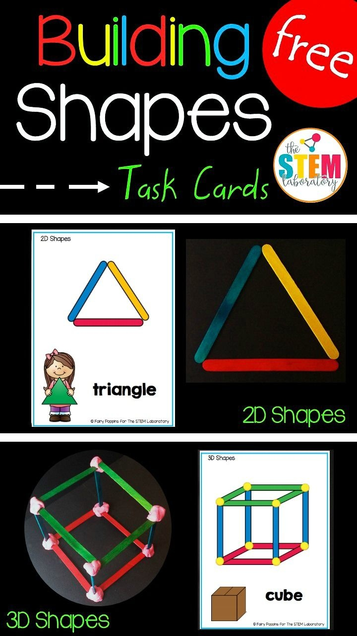 Building Shapes Stem Cards   Homeschool   Kindergarten Stem - Free Printable Kindergarten Task Cards