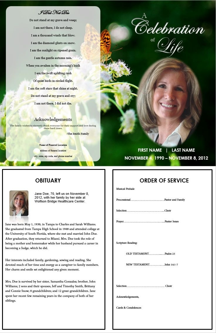 Butterfly Memorial Program   Memorials   Funeral Memorial, Memorial - Free Printable Memorial Card Template