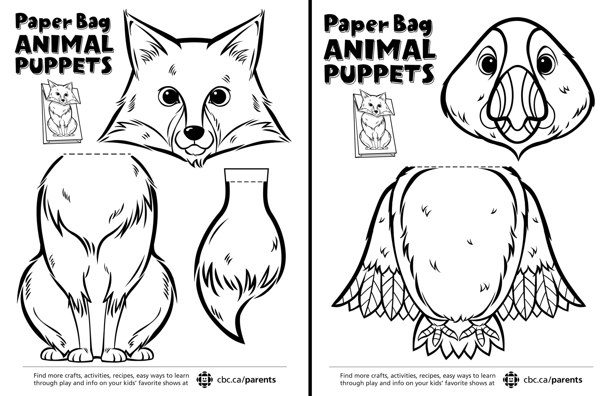 Canadian Animal Paper Bag Puppets | Play | Cbc Parents - Free Printable Paper Bag Puppet Templates