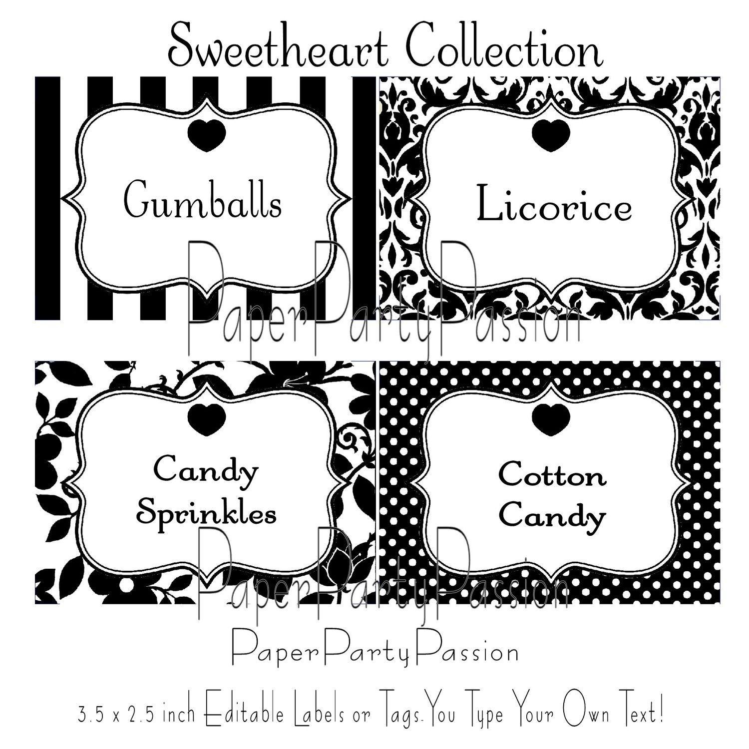 Candy Buffet Printable Editable Party Labels Or Tags Black And White - Free Printable Food Tags For Buffet