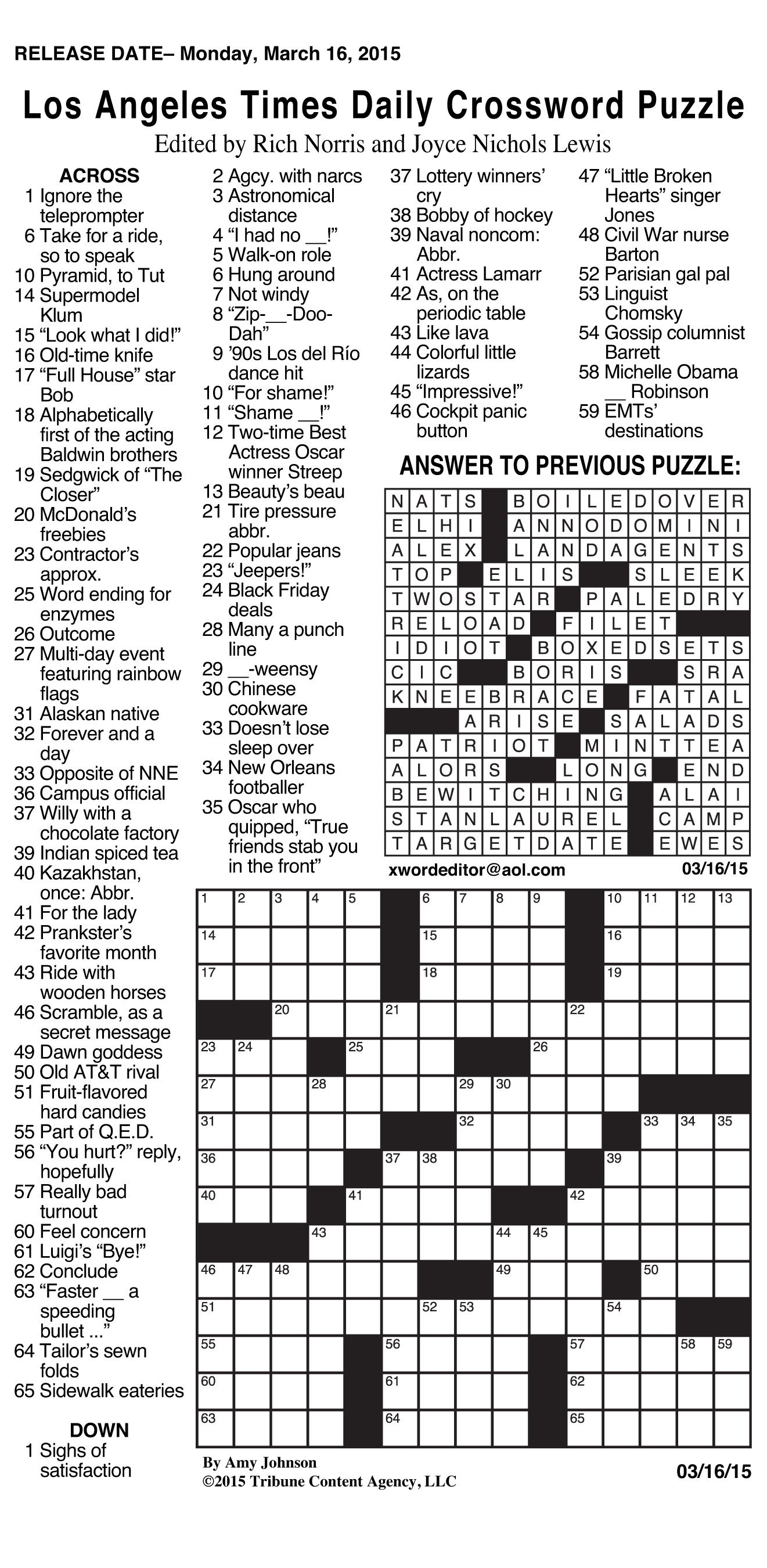 Canonprintermx410: 26 Fresh Free La Times Crossword - Free La Times Crossword Printable