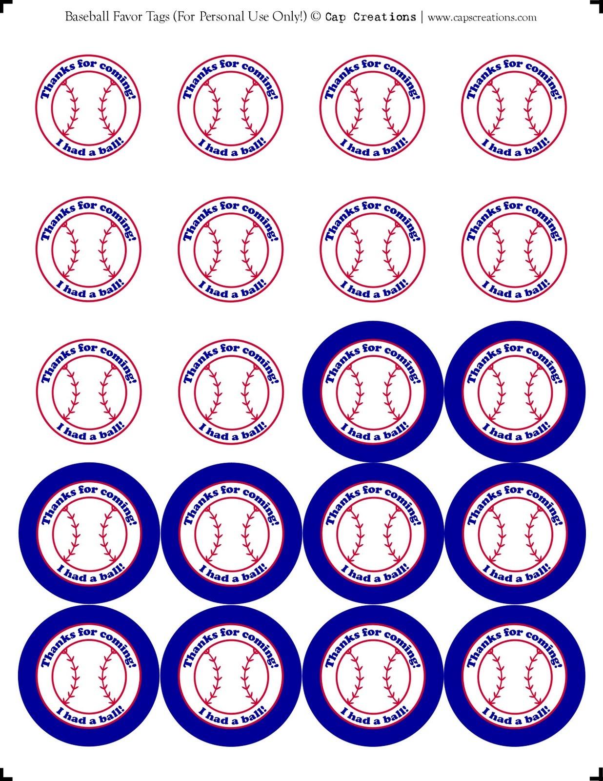 Cap Creations: Printable Baseball Party Favor Thank You Tags - Free Printable Baseball Favor Tags