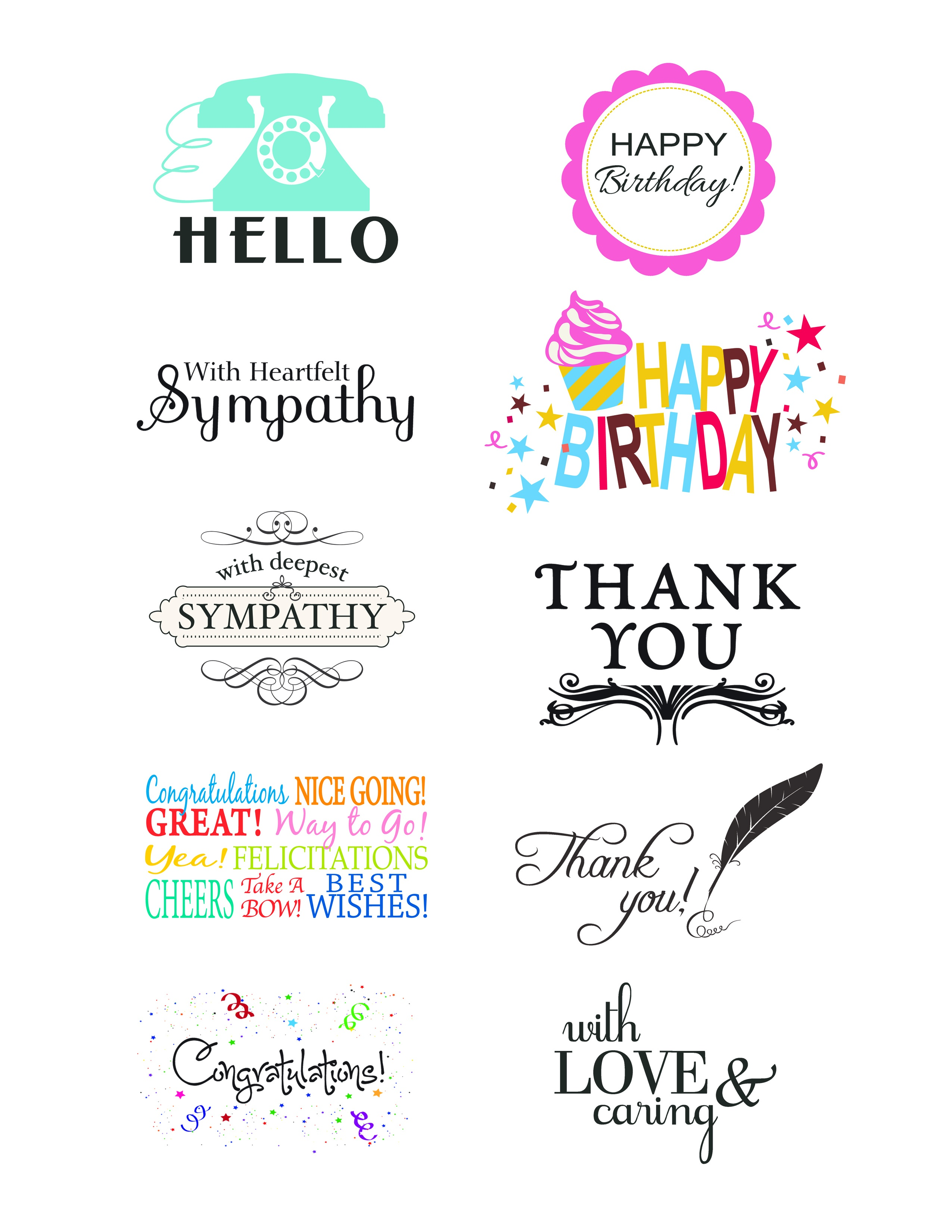Card Creations, Vol. 11 Sentiments   Card Creations, Vol. 11   Paper - Free Printable Greeting Card Sentiments