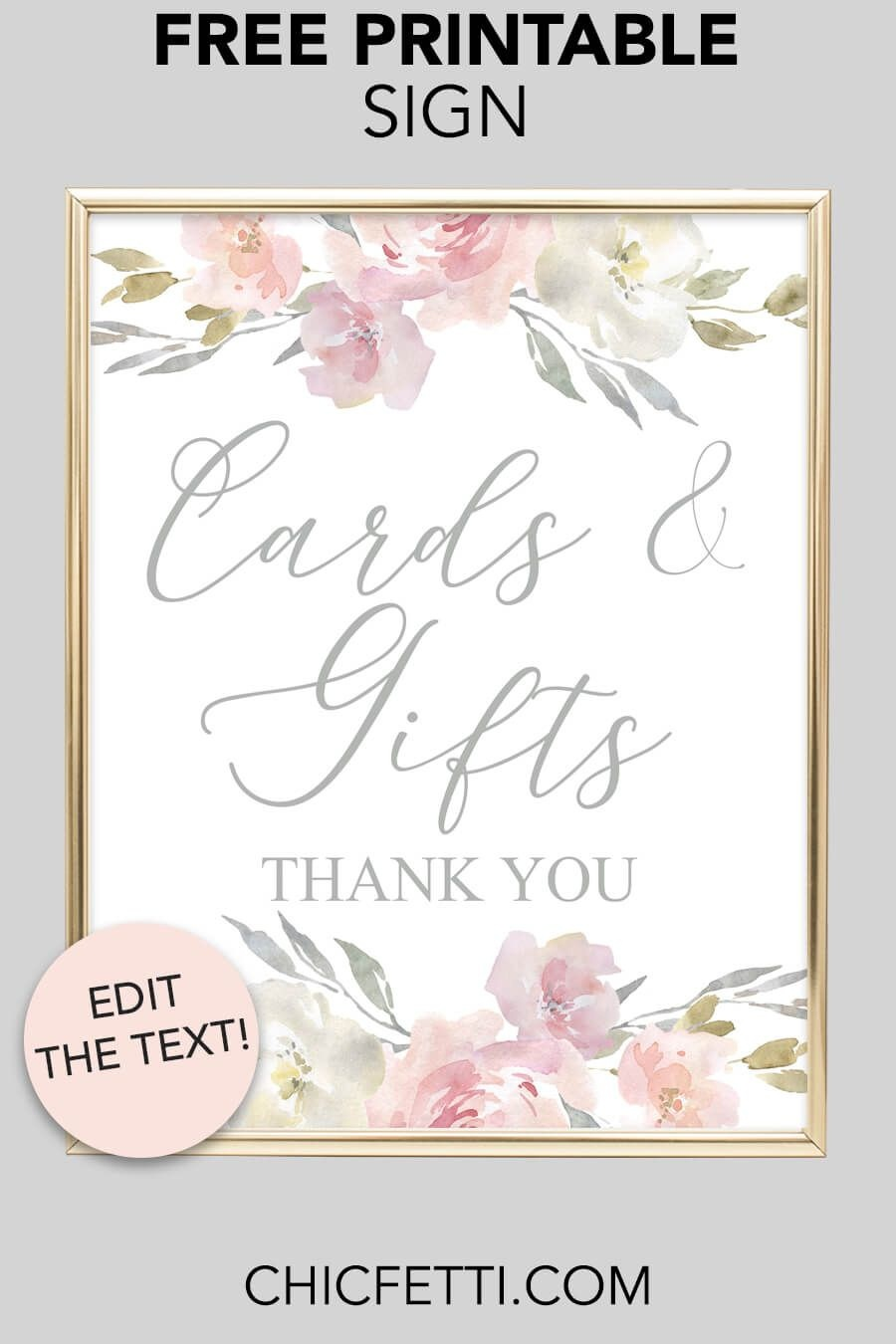 Cards & Gifts Printable Sign (Blush Floral | Free Printables | Free - Cards Sign Free Printable