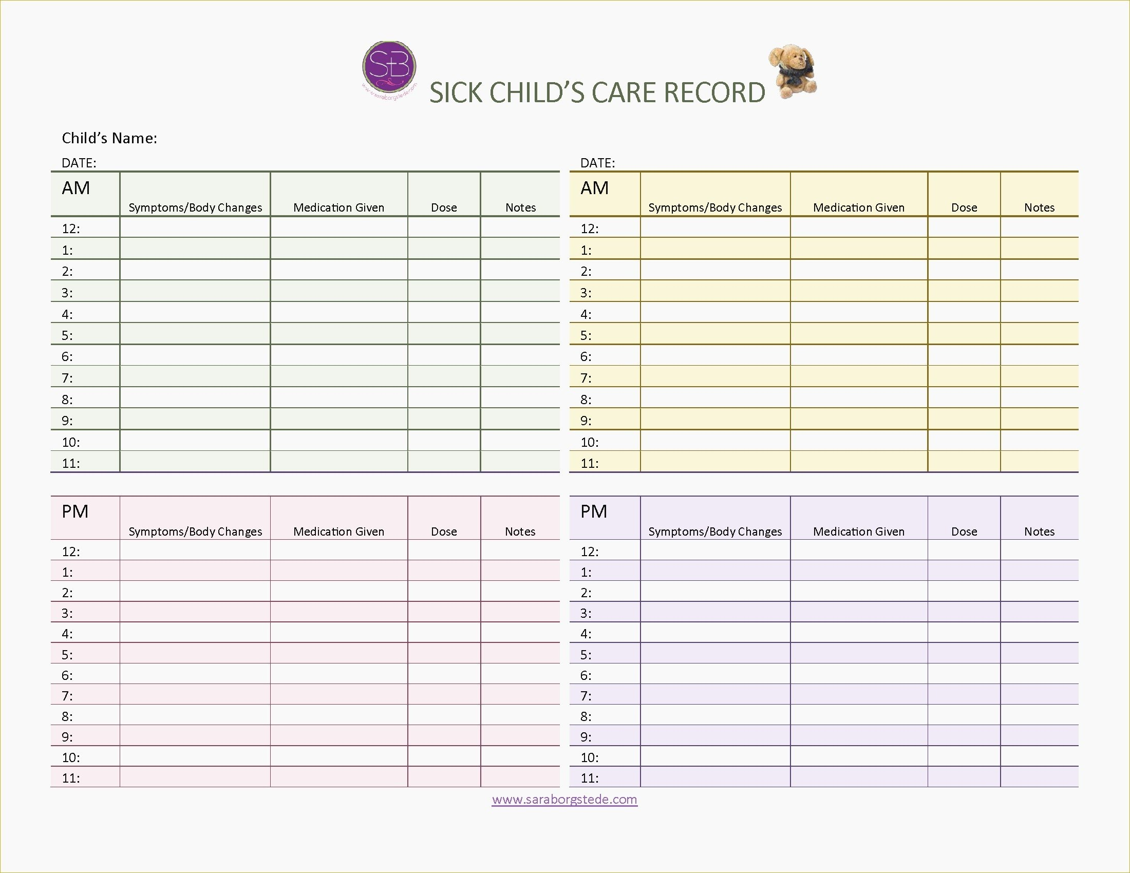 Caregiver Daily Log Sheet Print – Free Printable Caregiver Forms - Free Printable Caregiver Forms