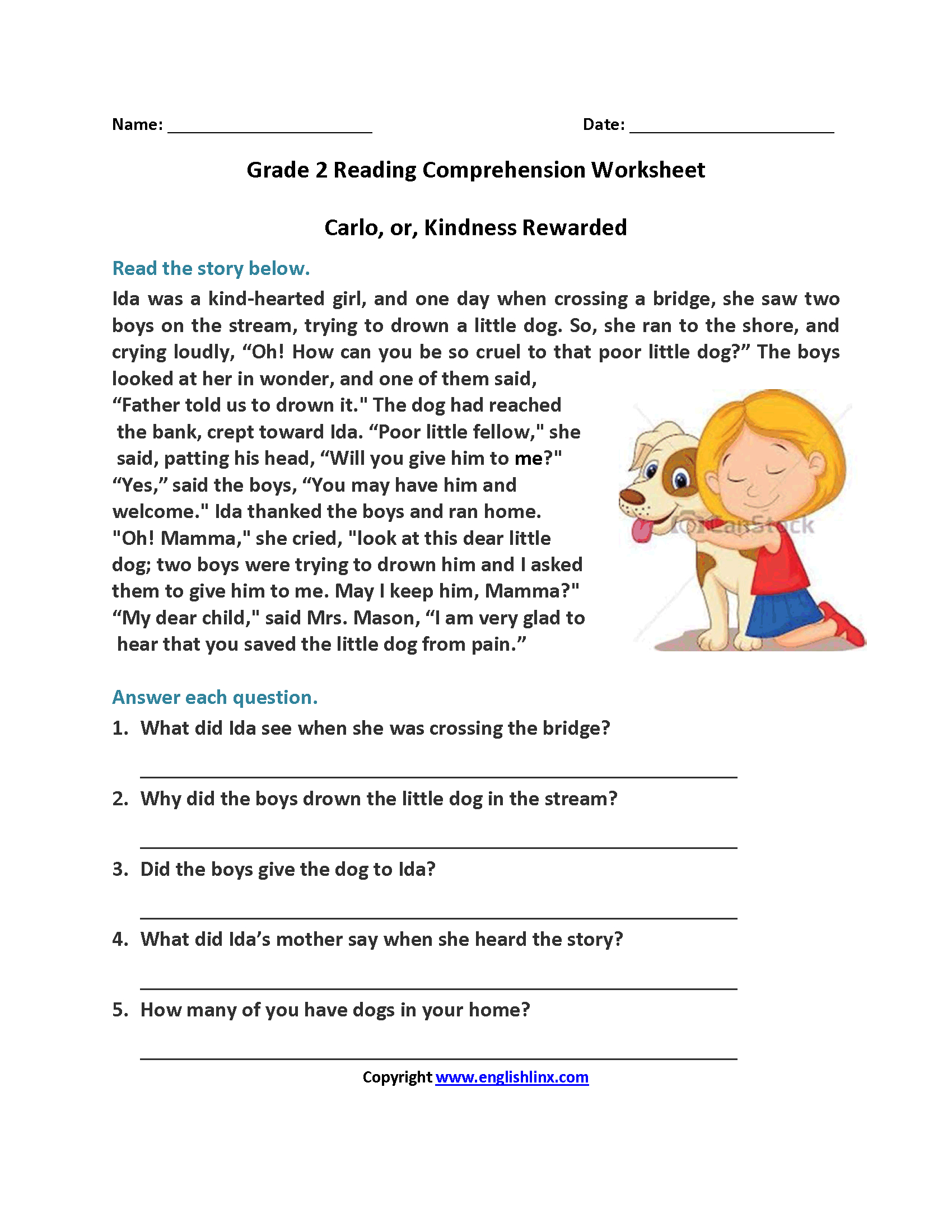 Carlo Or Kindness Rewarded Second Grade Reading Worksheets | Reading - Free Printable Short Stories For 2Nd Graders