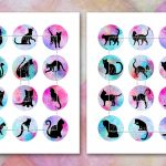 Cat Silhouette,image Digital Cabochon,cats Printable Images   Free Printable Cabochon Templates