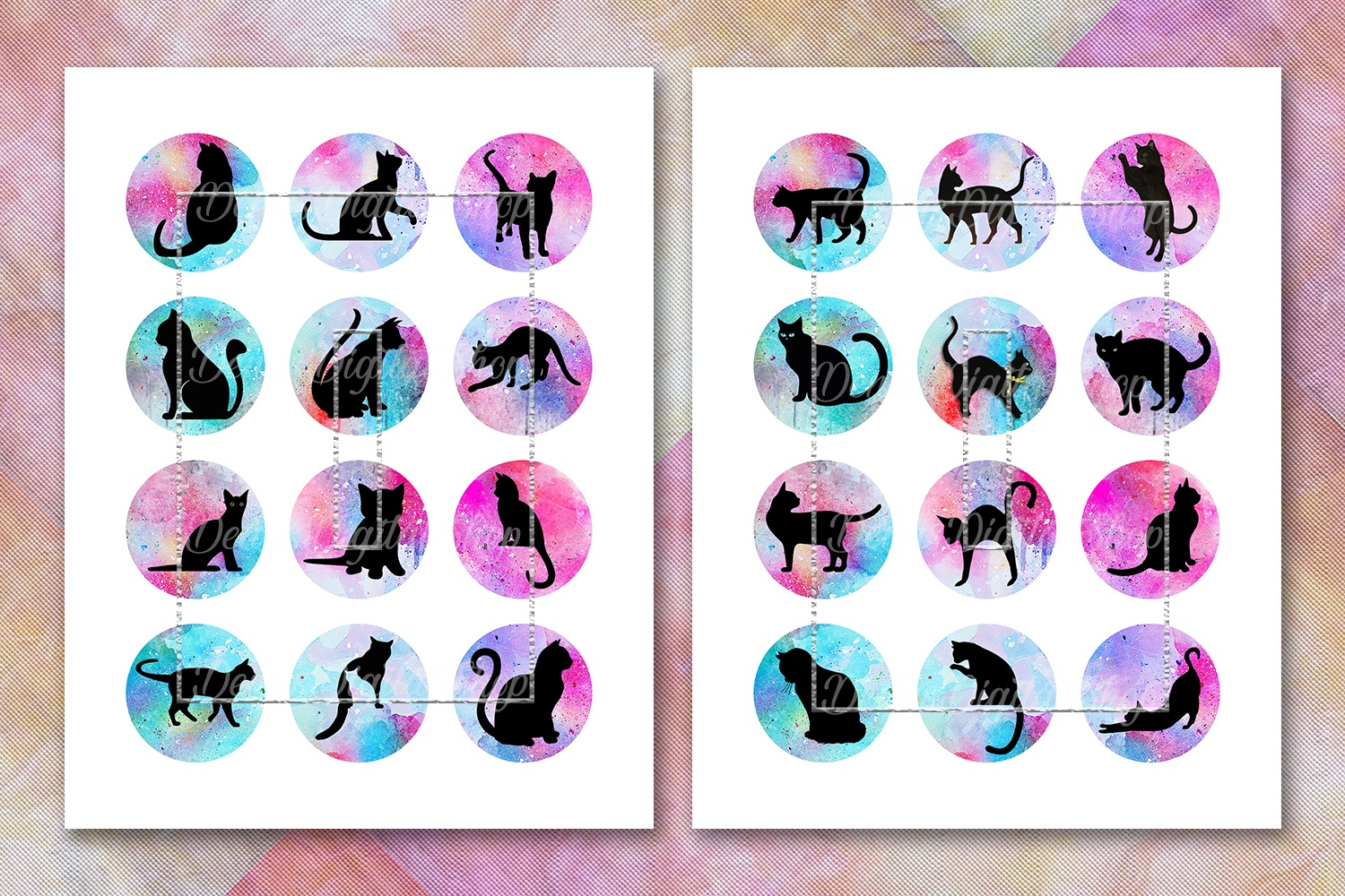 Cat Silhouette,image Digital Cabochon,cats Printable Images - Free Printable Cabochon Templates