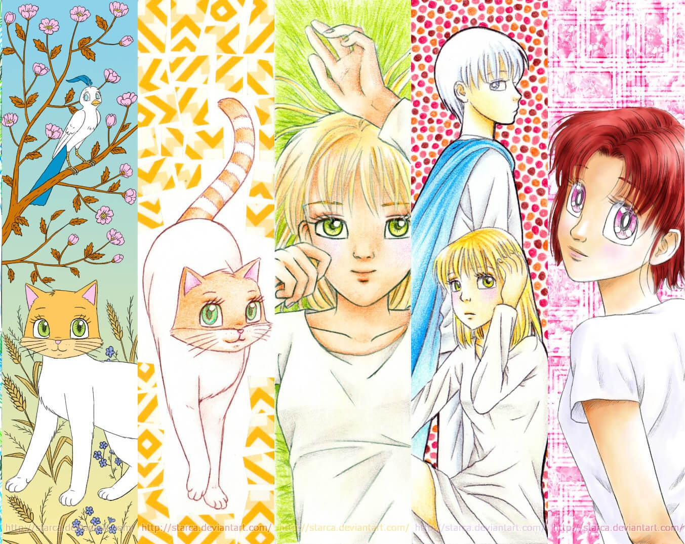 Cats And Girls Bookmarks   Free Printable Papercraft Templates - Anime Bookmarks Printable For Free