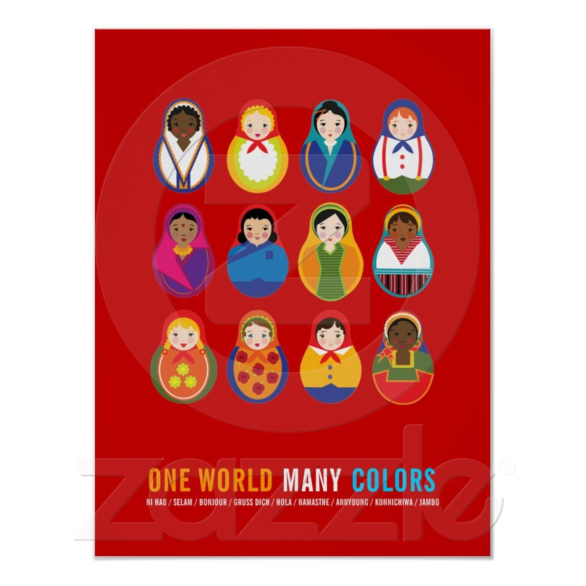 Celebrate Culture & Diversity One World Many Color Poster   Zazzle - Free Printable Multicultural Posters