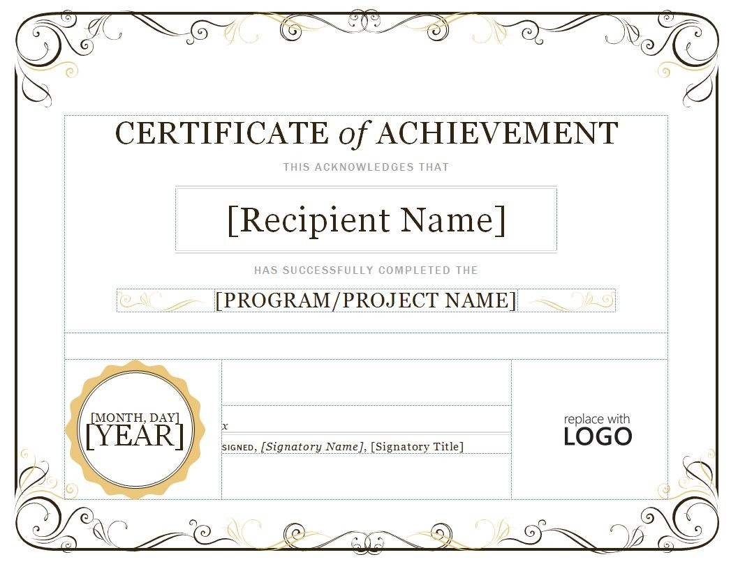 Certificate-Of-Achievement-Pdf-Samples - Free Printable Certificates Of Accomplishment