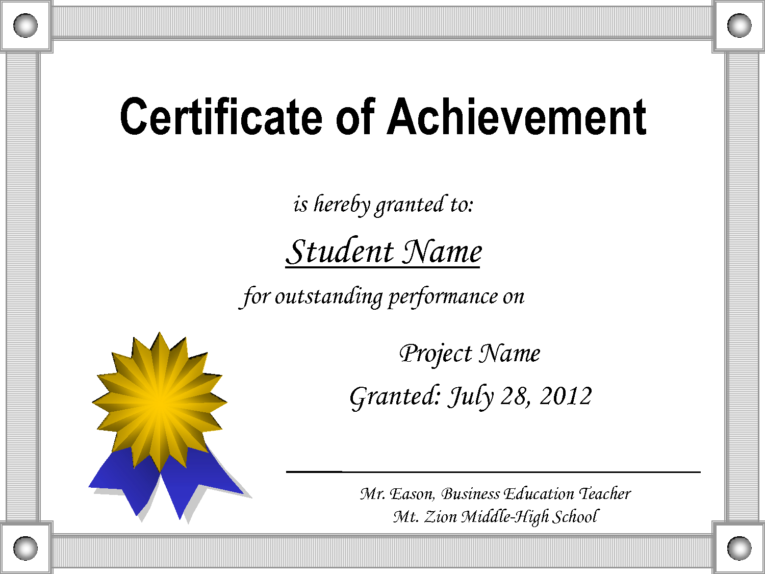 Certificate-Of-Achievement-Template - Free Printable Certificates Of Accomplishment