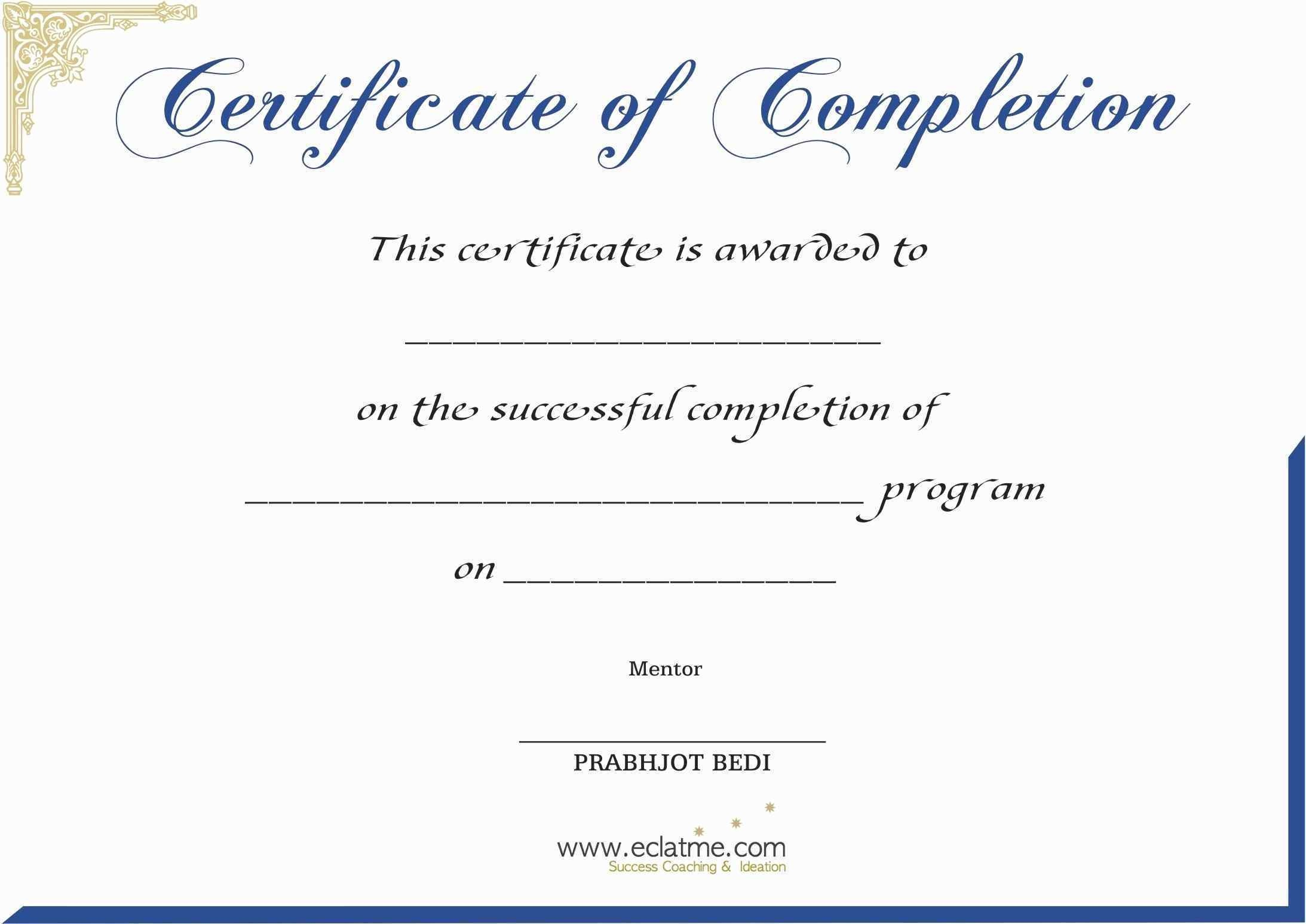 Certificate Of Completion Templates Free Printable Luxury In - Certificate Of Completion Template Free Printable
