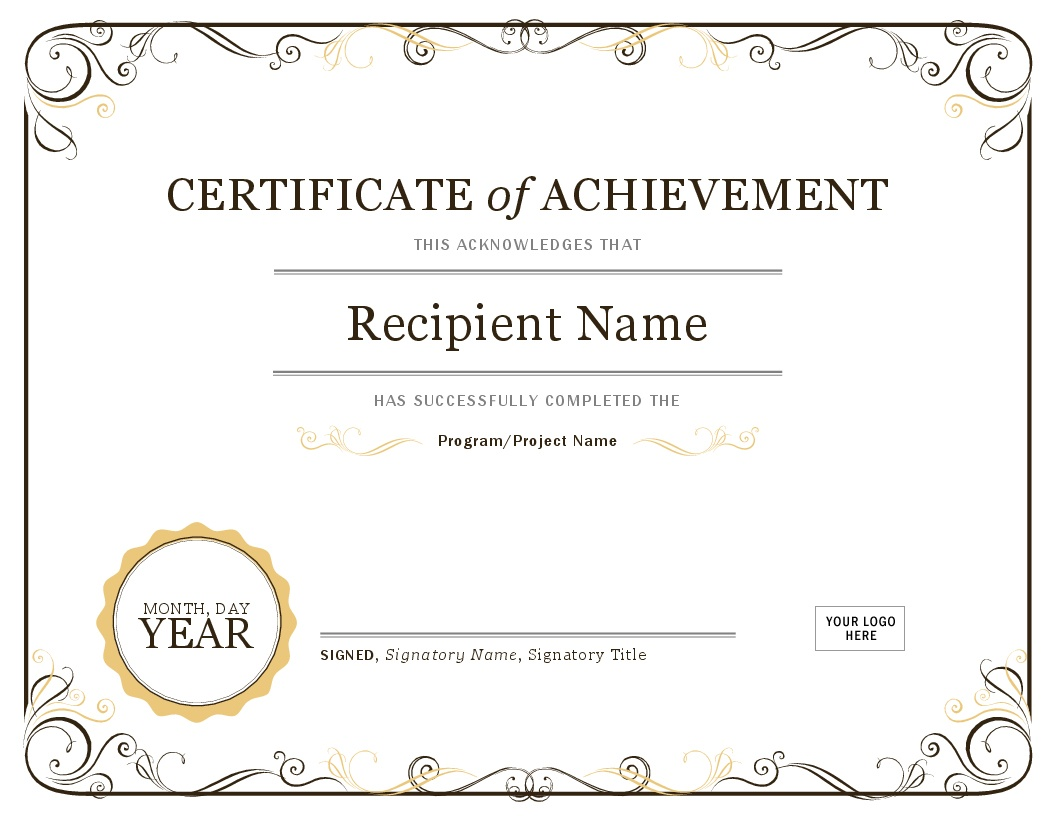 Certificates - Office - Free Printable Certificates Of Achievement