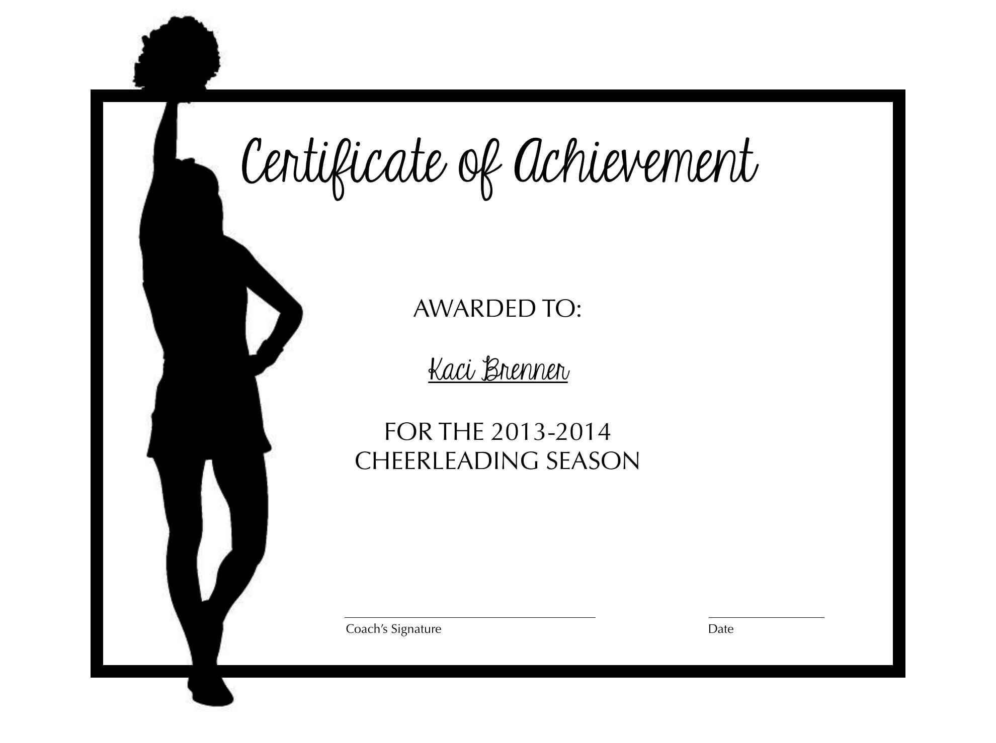 Cheerleading Certificate Of Achievement   Cheer   Cheer Coaches - Free Printable Cheerleading Certificates
