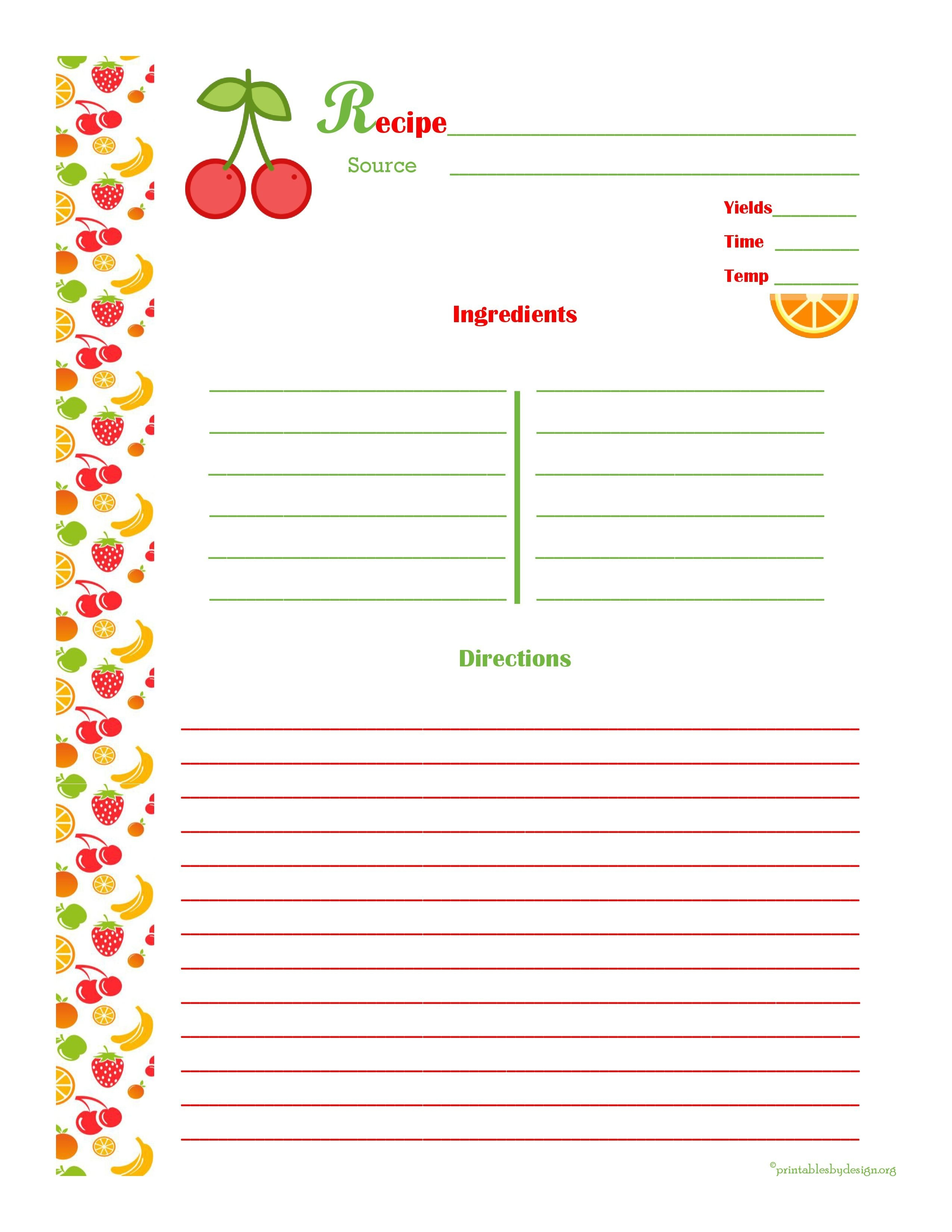 Cherry & Orange Recipe Card - Full Page | Cool Recipe Cards | Food - Free Printable Recipe Templates