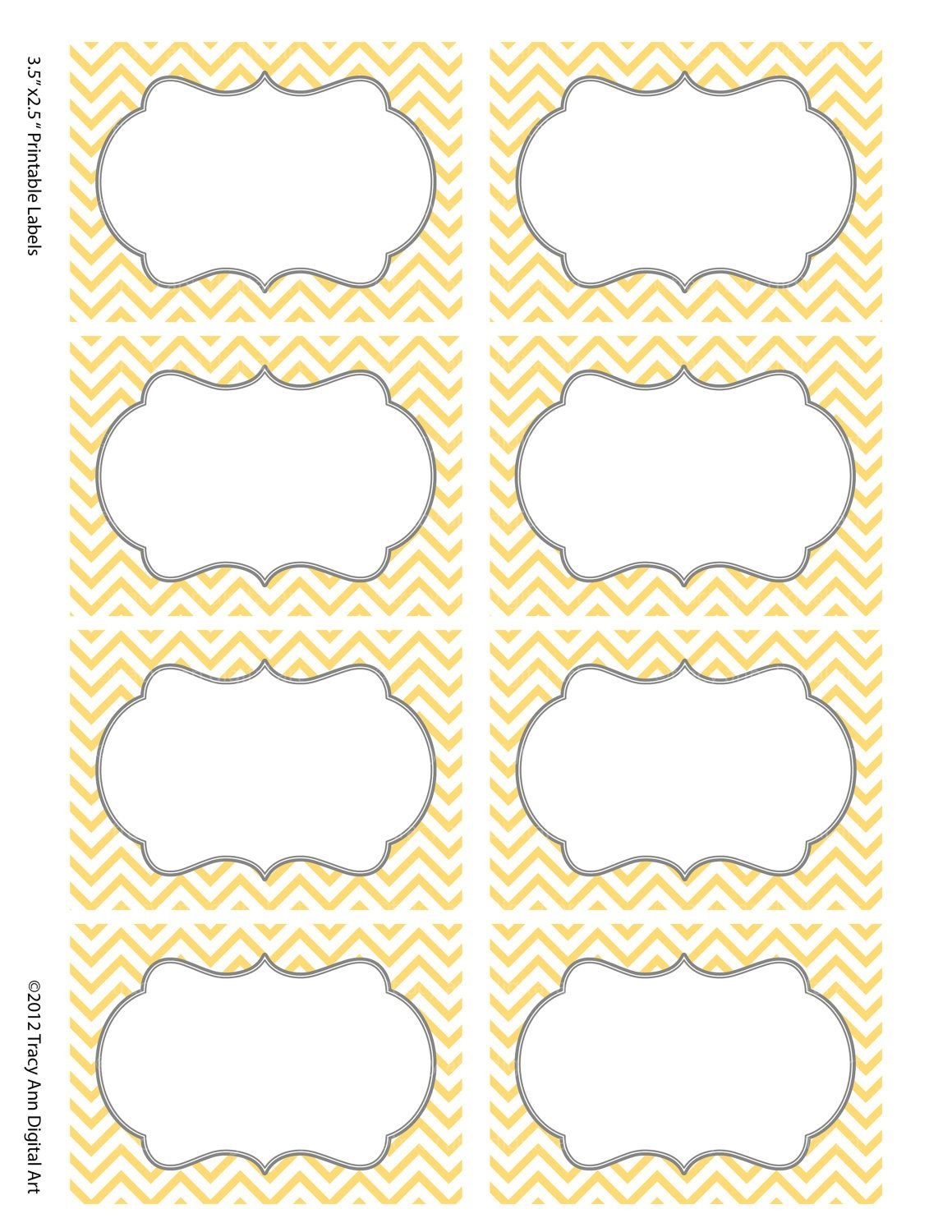 Chevron Labels Print Your Own Labels Yellow And Grey | Printables - Free Printable Chevron Labels