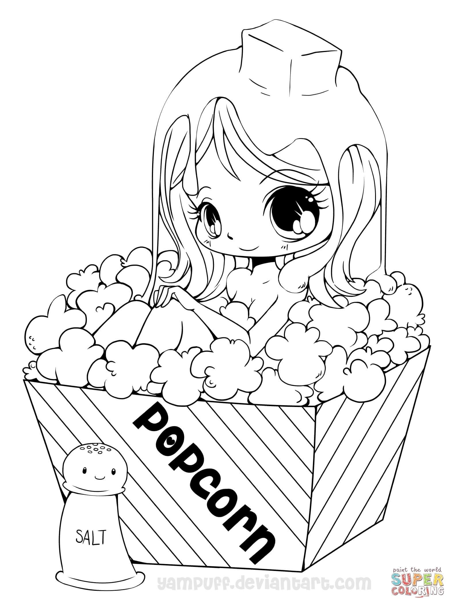 Chibi Popcorn Girl Coloring Page | Free Printable Coloring Pages - Free Printable Coloring Pages For Girls