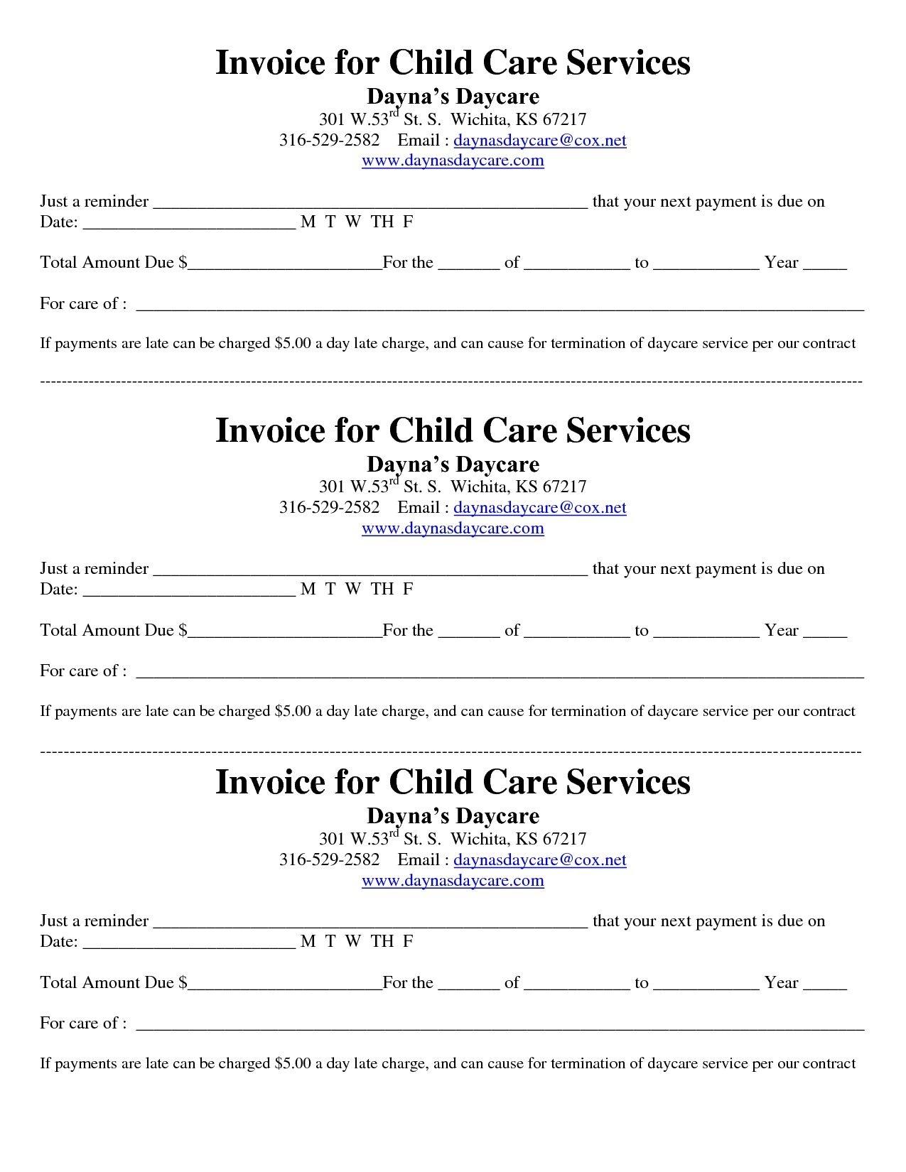 Child Care Receipt/invoice | Jordi Preschool | Invoice Template - Free Printable Daycare Receipts