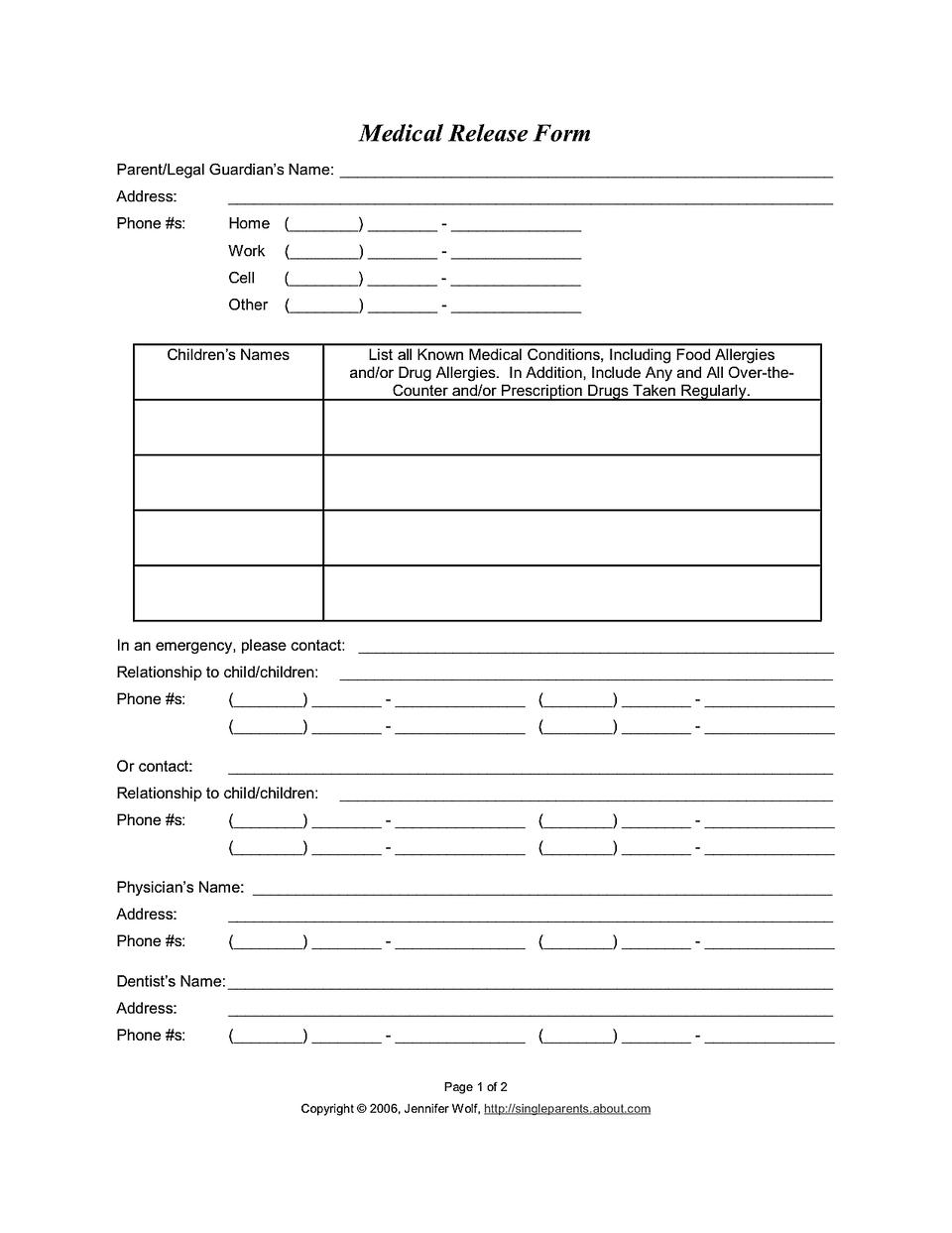 Child Medical Release Form - Free Printable Medical Release Form