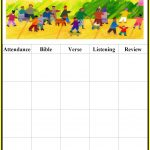 Childrens Gems In My Treasure Box: Sunday School   Attendance Charts   Free Printable Sunday School Attendance Sheet