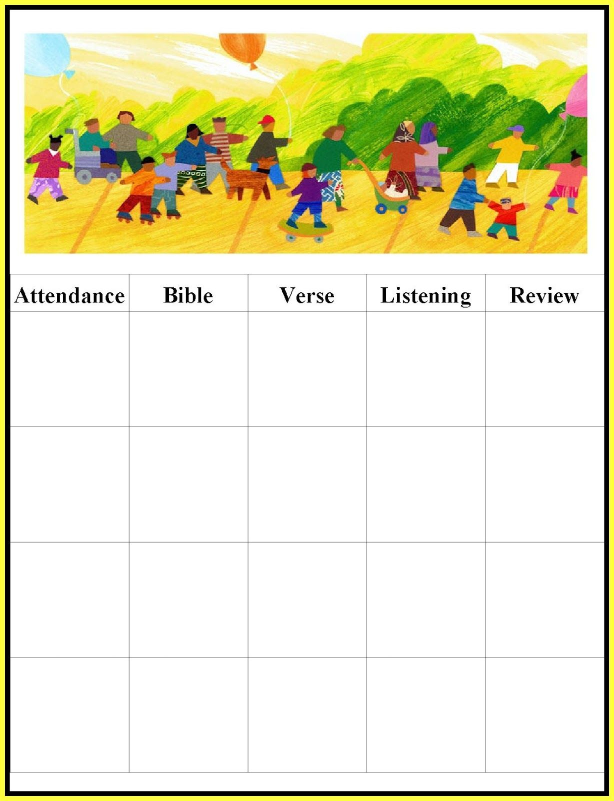 Childrens Gems In My Treasure Box: Sunday School - Attendance Charts - Free Printable Sunday School Attendance Sheet