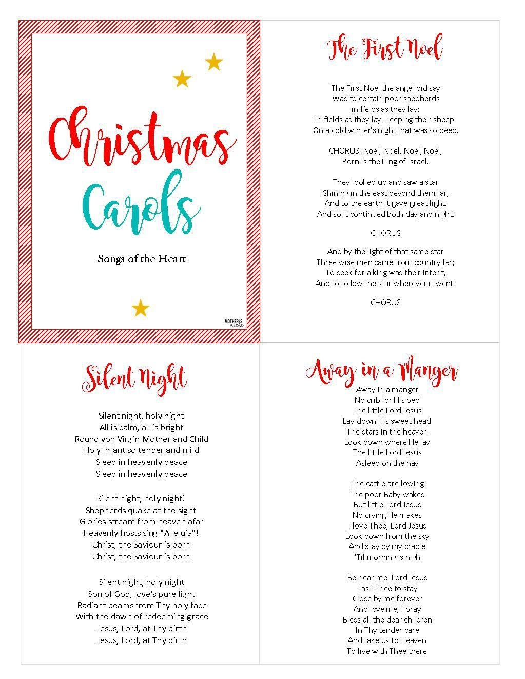 Christ-Centered Christmas Carols: Free Printable | Christmas 2018 - Free Printable Christmas Carols Booklet