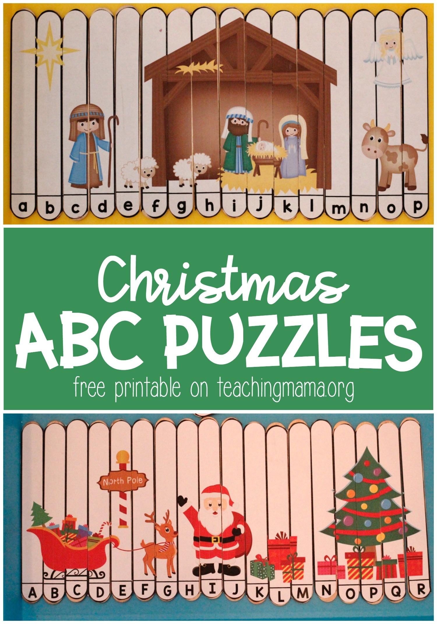 Christmas Alphabet Puzzles - Teaching Mama - Free Printable Alphabet Puzzles