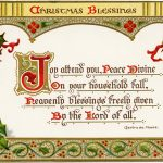 Christmas Blessings ~ Free Vintage Postcard Graphic   Old Design   Free Printable Christian Christmas Greeting Cards