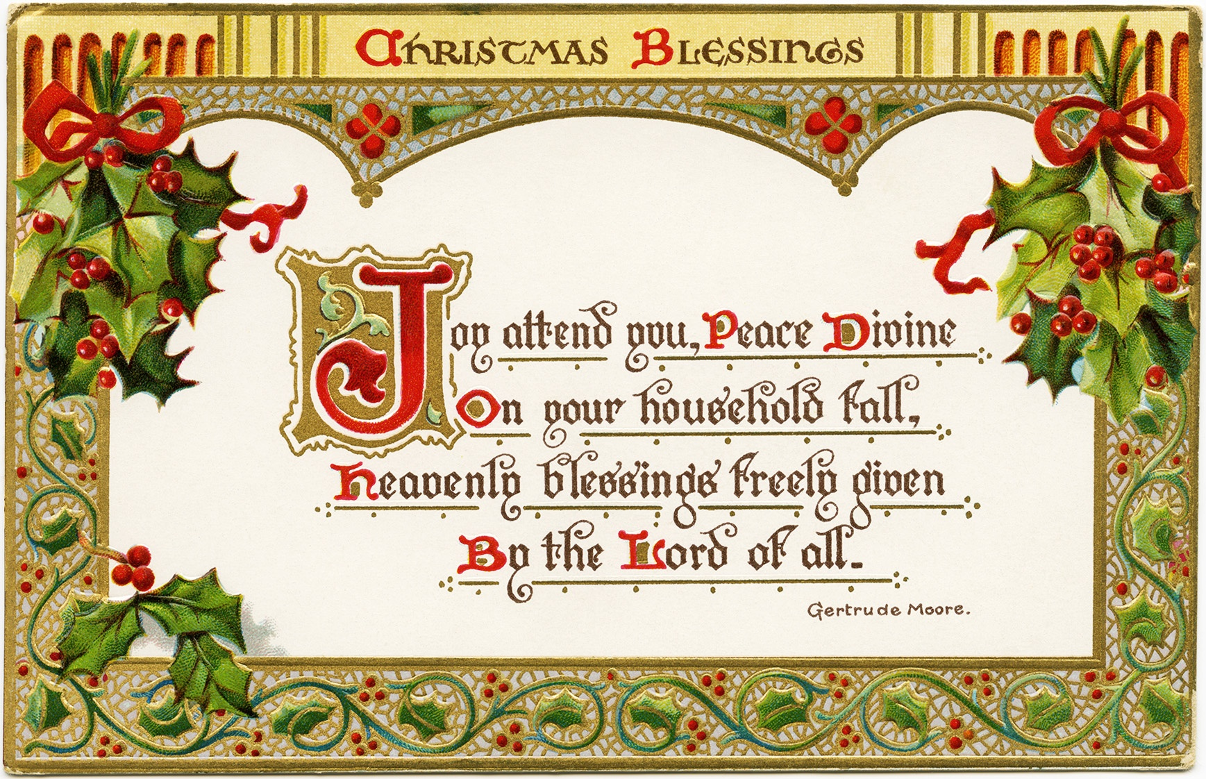 Christmas Blessings ~ Free Vintage Postcard Graphic - Old Design - Free Printable Christian Christmas Greeting Cards