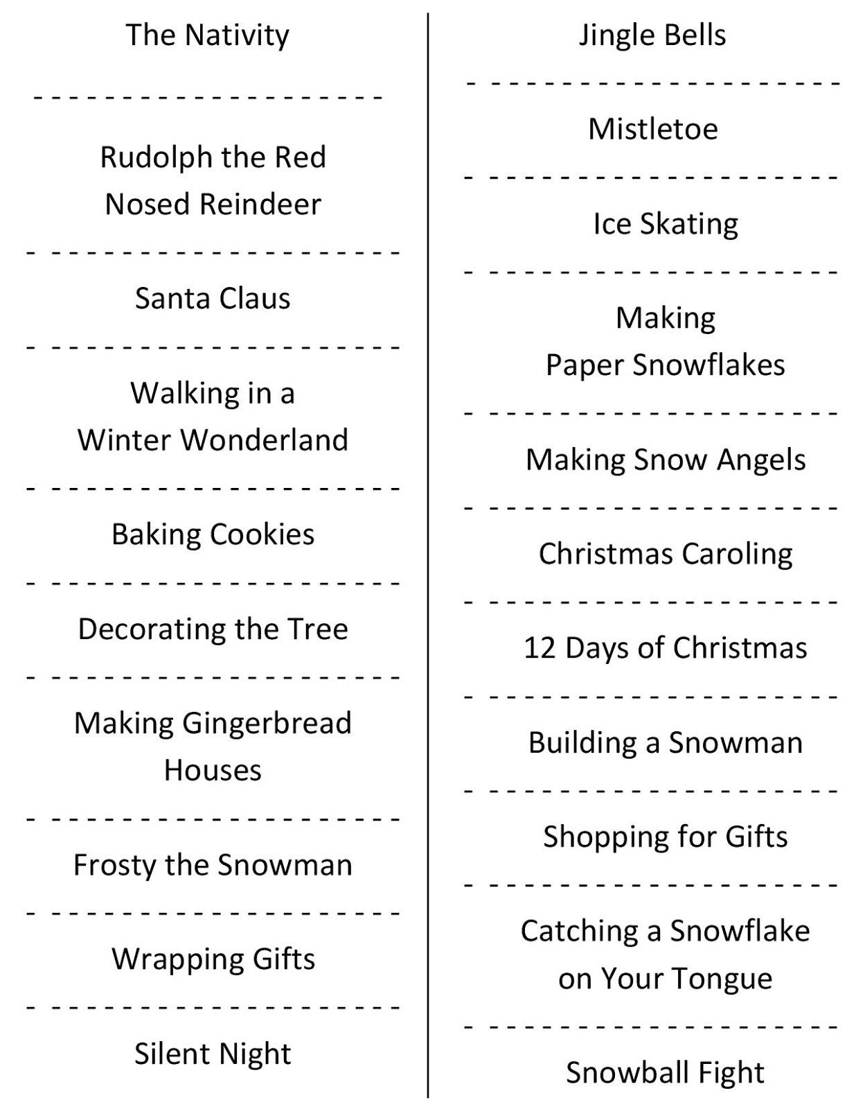 Christmas Charades (Free Printable Party Game) | Christmas | Daily - Free Printable Charades Cards