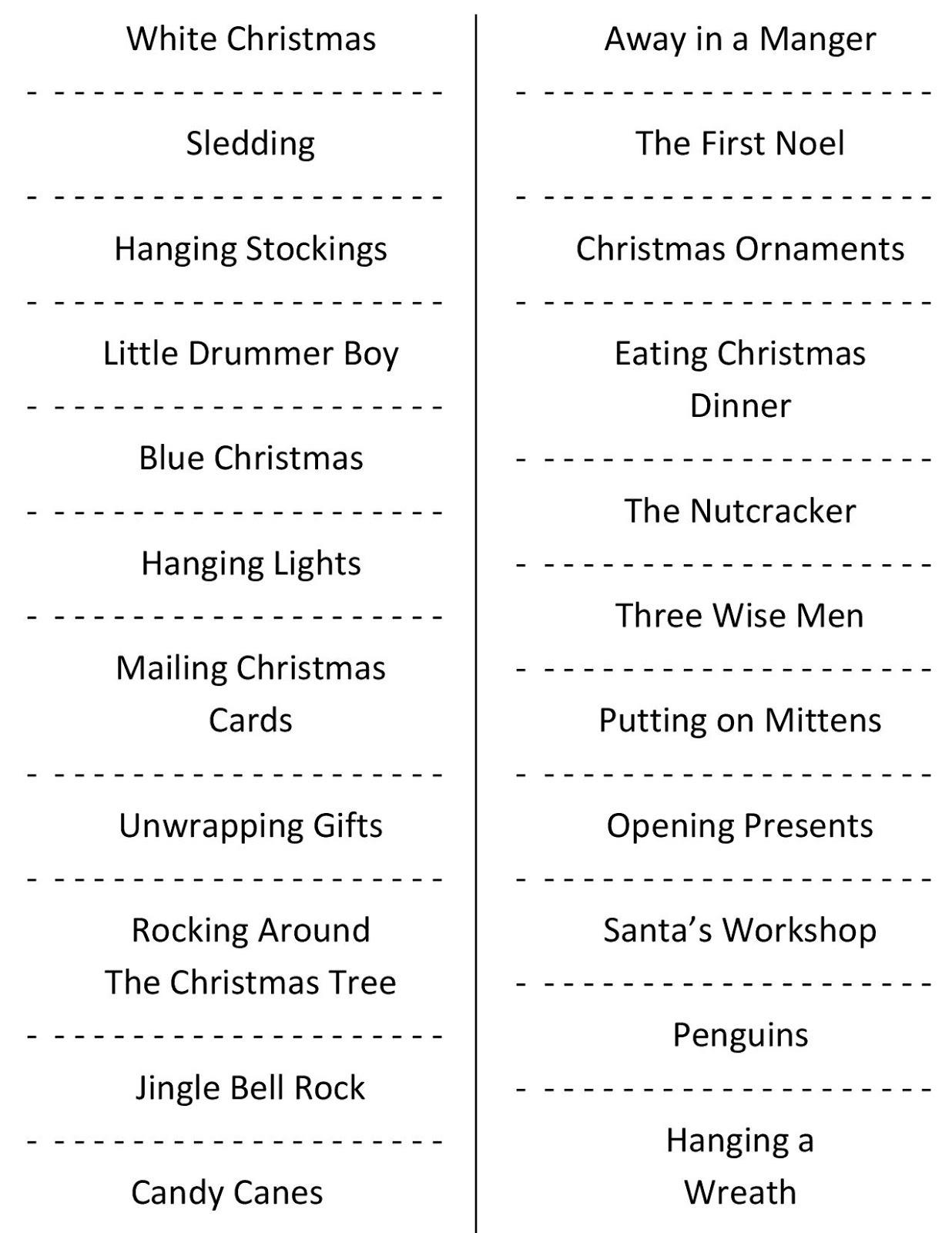 Christmas Charades (Free Printable Party Game) - Free Printable Charades Cards