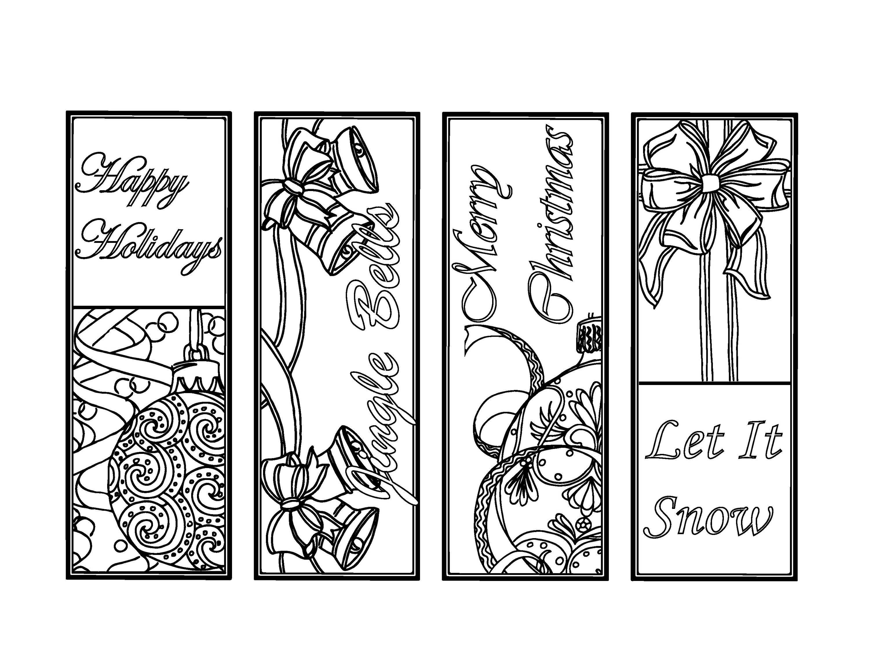 Christmas Coloring Pages Mistletoe Christmas Bookmarks To Color - Free Printable Christmas Bookmarks To Color