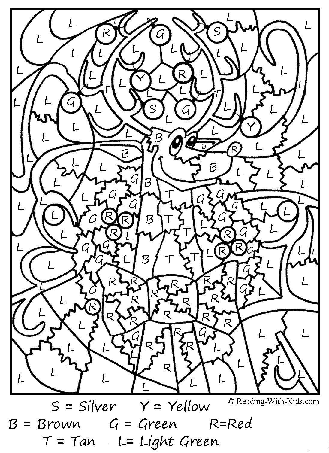 Christmas Colornumber Coloring Pages Printable | Coloring Pages - Free Printable Christmas Color By Number Coloring Pages