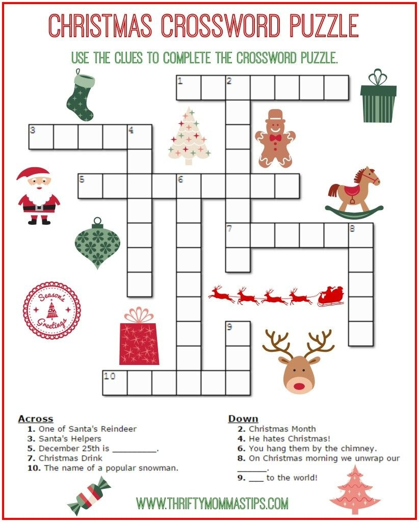 Christmas Crossword Puzzle Printable - Thrifty Momma's Tips | Free - Free Printable Christmas Puzzle Sheets