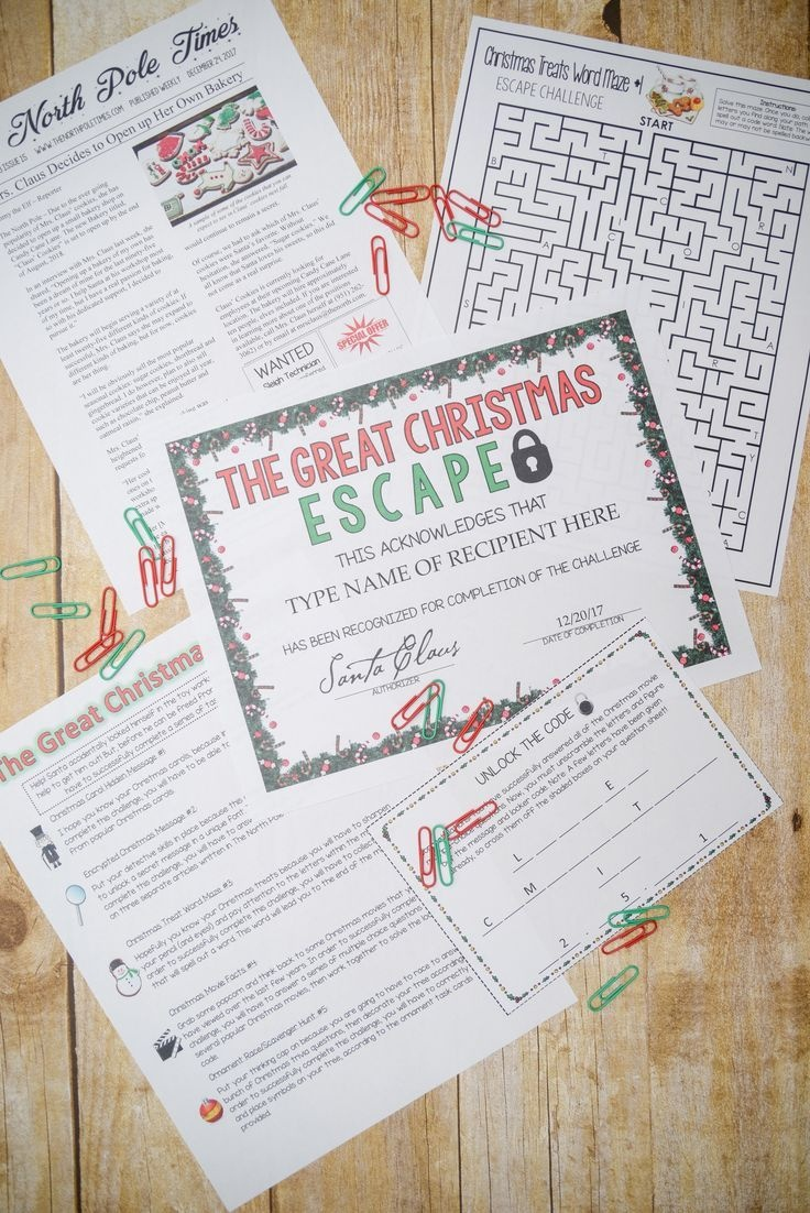 Christmas Escape Room (Activities, Trivia & Puzzle Games For - Free Printable Escape Room Game