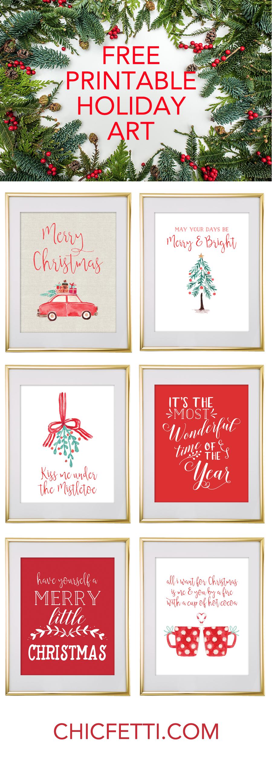 Christmas Free Printable Wall Art - Download Free Christmas Art | F - Free Printable Christmas Party Signs