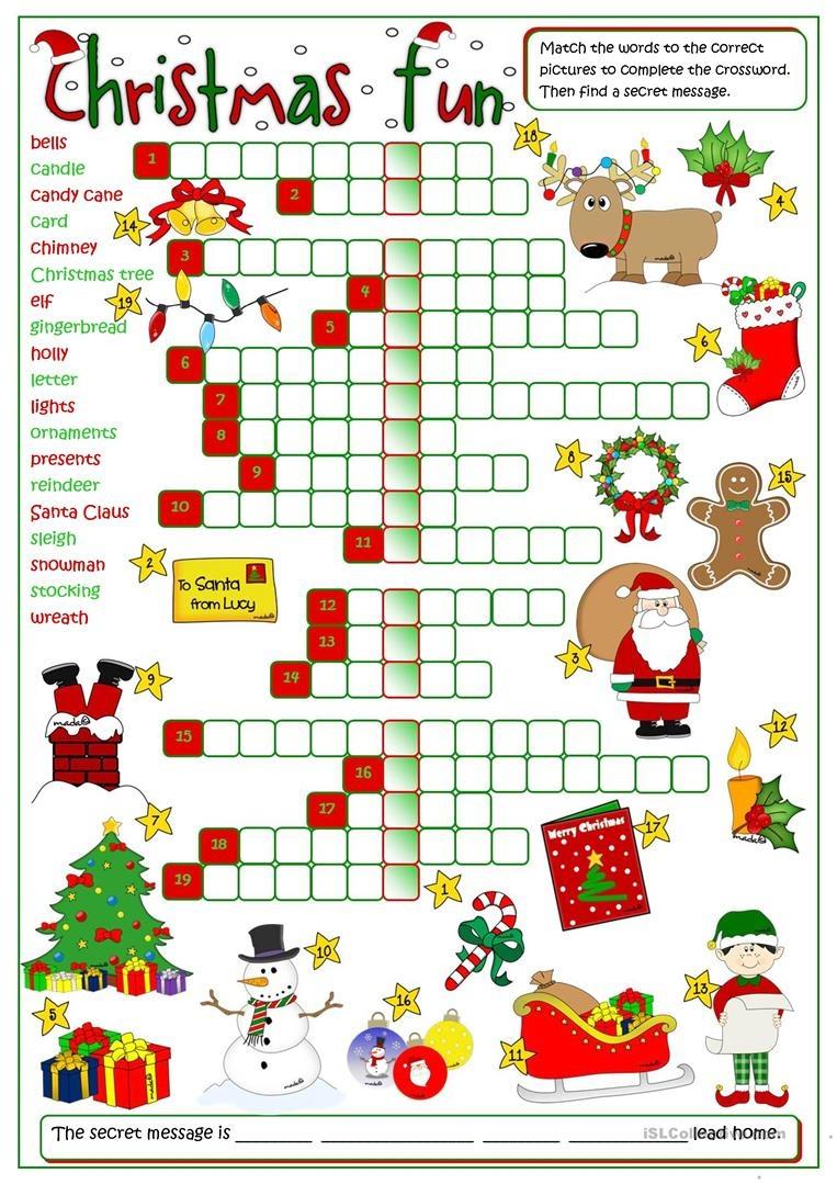 Christmas Fun - Crossword Worksheet - Free Esl Printable Worksheets - Christmas Fun Worksheets Printable Free