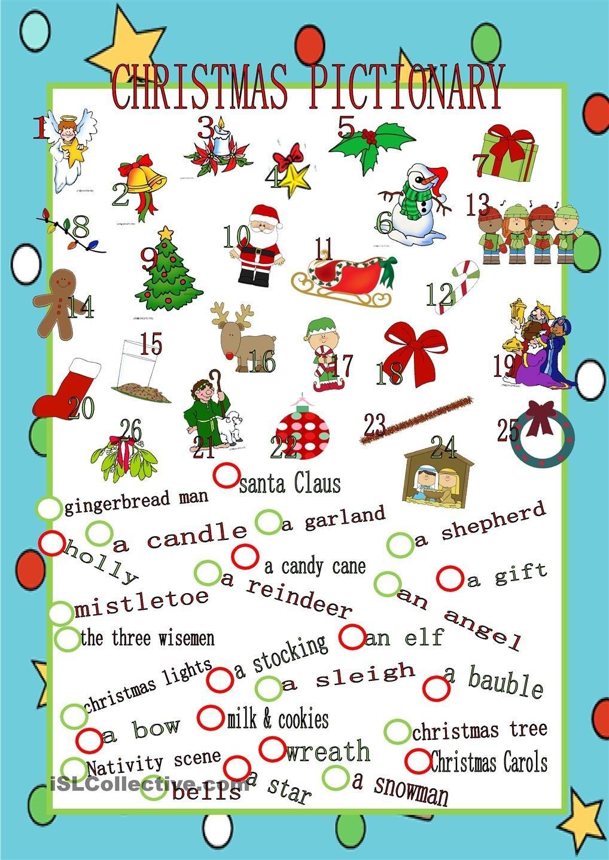 Christmas Pictionary   Christmas Party Games & Food   English - Free Printable Christmas Pictionary Words
