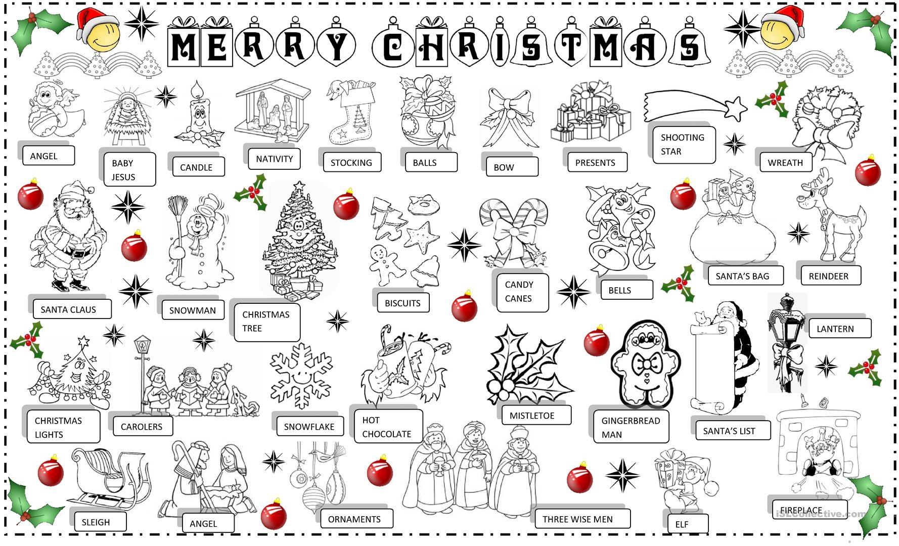 Christmas Pictionary Worksheet - Free Esl Printable Worksheets Made - Free Printable Christmas Pictionary Words