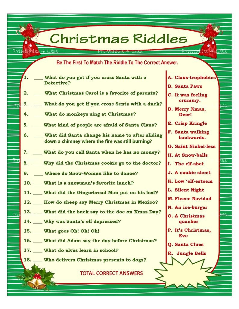 Christmas Riddle Game Diy Holiday Party Game Printable | Etsy - Free Printable Christmas Riddle Games