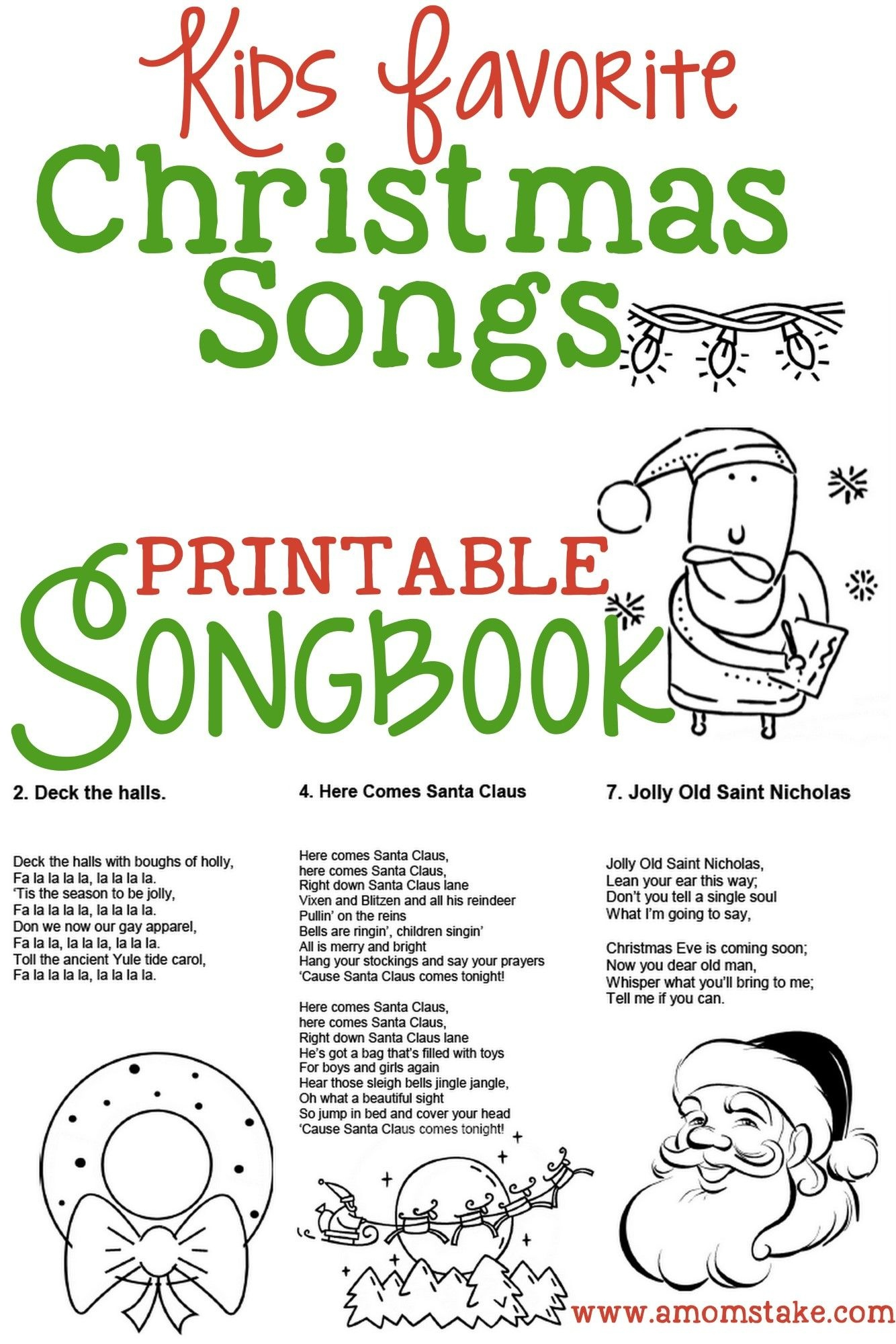 Christmas Songs For Kids – Free Printable Songbook! A Coloring Book - Free Printable Christmas Carols Booklet