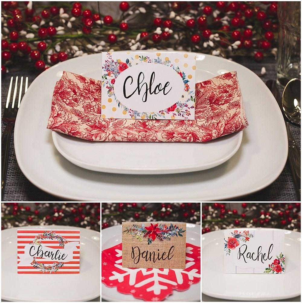 Christmas Table Place Cards { Free Printable} - Six Clever Sisters - Christmas Table Name Cards Free Printable
