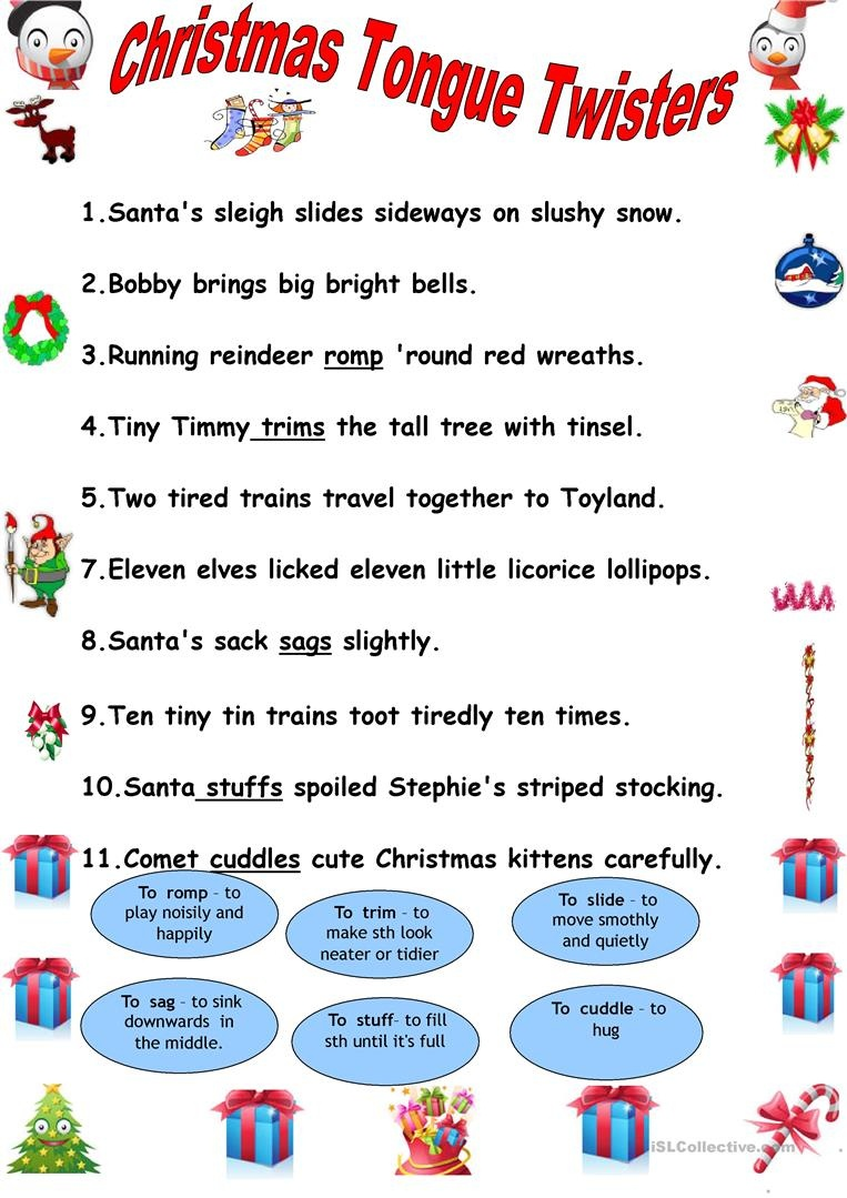 Christmas Tongue Twisters. Worksheet - Free Esl Printable Worksheets - Free Printable Tongue Twisters